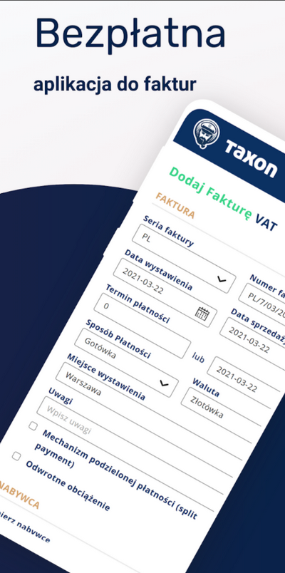 taxon bezpłatna aplikacja do faktur